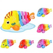 Zuffon Key Operated Wind up Stalking Toy: Mini Fish in Rainbow Colours. Pack of 1