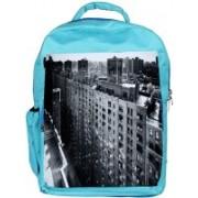Snoogg Eco Friendly Canvas Manhattan New York City Designer Backpack Rucksack School Travel Unisex Casual Canvas Bag Bookbag Satchel 5 L Backpack(Blue)
