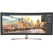 "Monitor IPS LED LG 37.5"" 38UC99-W, WQHD+ (3840 x 1600), HDMI, DisplayPort, Ecran curbat, 5 ms (Negru/Alb) + BullGuard Internet Security, 1an, 3 utilizatori, Attach Card"