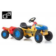 Traktor G21 CLASSIC utánfutóval - sárga/kék