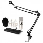 Auna CM001S, микрофонен комплект V3, кондензорен микрофон, микрофонна стойка, сребрист (60002006-V3)