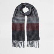 River Island Womens Black and oxblood check scarf