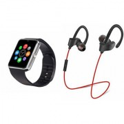 Zemini GT08 Smart Watch and QC 10 Bluetooth Headphone for LG OPTIMUS L5 II(GT08 Smart Watch with 4G sim card camera memory card |QC 10 Bluetooth Headphone )
