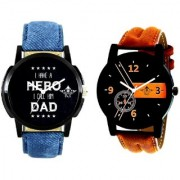 Luxury Brown Leather Strap And My Ded My Hero Men's Combo Wrist Watch By Google Hub
