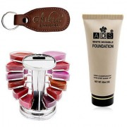 ADS White Invisible Foundation Lipgloss Palette with Ashra Keychain