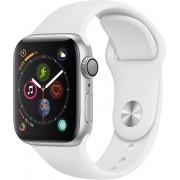 Apple Watch Series 4 44mm stříbrný hliník s bílým sportovním řemínkem