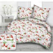 Karácsonyi manós 3 részes 100% pamut ágynemű garnitúra 140x200 - piros - zöld