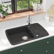 vidaXL Chiuvetă de bucătărie din granit, cu un singur bazin, negru