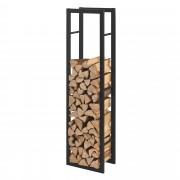 [en.casa] Stalak za Drva 40x150x25cm Držač za Drva za Ogrjev - Okvir Čelik Crni
