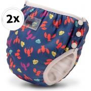 Bambinex wasbare zwemluier en oefenbroekje - 2 stuks - Lobster - maat S
