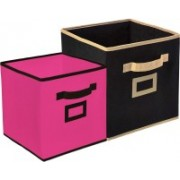 Billion Designer Non Woven 2 Pieces Small & Large Foldable Storage Organiser Cubes/Boxes (Pink & Black) - CTKTC35324 CTLTC035324(Pink & Black)