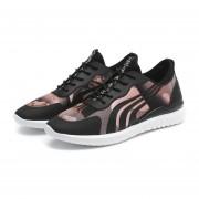 Zapatos Deportivos Con Malla Respirable Tenis Casual Para Hombre -Negro Y Rosa