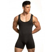 N2N Bodywear Cotton Sport Wrestler Bodysuit Charcoal/Black CS8