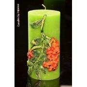 Designkaarsen com Rode Bessen, Kaars Rond, H: 15 cm - kaarsen