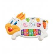 SOFTA PVC Rabbits Musical Piano with 3 Modes Animal Sounds, Flashing Lights & Wonderful Music (Rabbit Piano - 1, Multicolour)