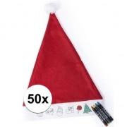 Bellatio Decorations 50 Kerstmutsen voor kinderen inkleurbaar inclusief 4 waskrijtjes