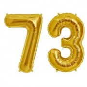 Stylewell Solid Golden Color 2 Digit Number (73) 3d Foil Balloon for Birthday Celebration Anniversary Parties
