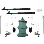 Set complet pescuit format din 2 lansete de 3m 2 mulinete 2 suporti 2 senzori 1 juvelnic cu 3 tronsoane 2 swinger 2 forface 1 racheta momit