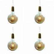 Luci Da Esterno Confezione 4 Lampadine LED con estetica vintage Maxi Globo 6W Vetro Oro