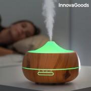 Umidificator difuzor de arome, LED Wooden-Effect, InnovaGoods Home Deco, temporizator, oprire automata, silentios