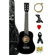 Black Acoustic Toy Guitar for Kids with Carrying Bag and Accessories & DirectlyCheap(TM) Translucent Blue Medium Guitar Pick