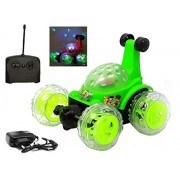 TryoKart 360 Degrees Rotating Front Axle Spinning Wheels Stunt Car with Colourful 3D Lights & Music (Green)