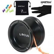 Magic Yoyo Ball V6 Locus Spase Aluminum Metal Responsive Yoyos for Kids Beginners Learner with Bag Glove 5 Strings Black