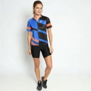 Wollner Blusa Listrada Com Bolsos Posteriores - Azul Royal & Pret