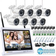 Jennov 8 CH 1080P CCTV Wireless Security Camera System IP Bullet Wifi Cameras For Home Outdoor Indoor 12 LCD HD Monitor 2.0 Megapixel Day Night Vision Video Surveillance (No Hard Drive)