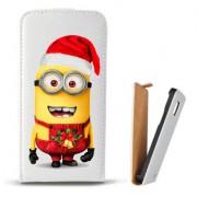 Toc Samsung Galaxy S Duos S7562 Trend Plus S7580 Trend S7560 Husa Piele Ecologica Flip Vertical Alba Model Craciun Minion Christmas