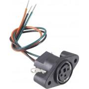 Conector soclu mini-DIN, pentru montare, 4 pini, cu cablu de conexiune, 0204025-P BKL Electronic