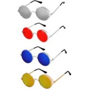 Rich Club Round Sunglasses(Silver, Red, Blue, Golden)