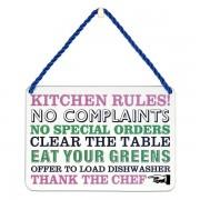 hang-ups! - tinnen bordje - kitchen rules