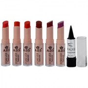 Ads Cinema Beauty Glossy Shine Forever Lipstick Pack Of 6 And Free Kajal-Gptgp-A4