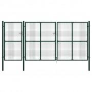 vidaXL Градинска порта, стомана, 400x175 см, зелена