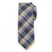 Keskeny nyakkendő kék-sárga kockás mintával 11126