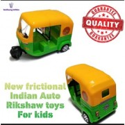 Wellbeing Within Non toxic plastic Frictional Premium Indian Auto Rikshaw Toys For Kids Medium Size