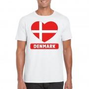 Shoppartners Deense vlag in hartje shirt wit heren