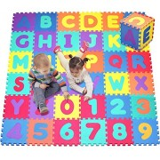 Click N Play Mega Play Mat Alphabet and Numbers Foam Puzzle Mat, 36 Tiles, Each Tile Measure 12 X 12