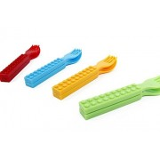 bloq&soft Cutlery Plastic Set Fork & Spoon. Kids' Interlocking Brick / Block Utensils. 4 Colors Included Blue, Red Yellow and Green