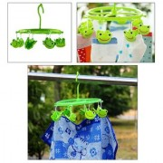 Clip Hangers For Kids Clothes By Wishkey  Cute Frog Design Hangers for Kids Wardrobes Durable Plastic Hanging Clothes Hanger with 8 Clips Baby Children Cloth Hangers Rack For Drying Clothes