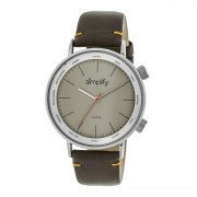Simplify The 3300 Leather-Band Watch - Silver/Grey/Dark Brown SIM3304