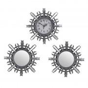 Set ceas de perete cu doua oglinzi