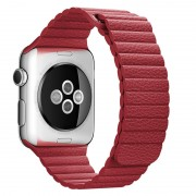 Magnetic Loop Genuine Leather Watchband Replacement for Apple Watch Series 4 44mm / Series 3 2 1 42mm - Red