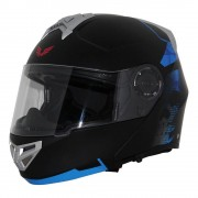 Bkr Casco Abatible BKR Supreme Rebel Negro con Azul Mediano