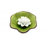 Suport betisoare parfumate frunza si floare de lotus alb-rosie (cod F93)