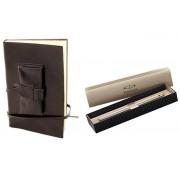 Cadou Parker Black Leather Notebook piele naturala