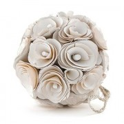 Confetti Floral Pomander Ball Made With Wood Curls - Medium - Pastel Pink