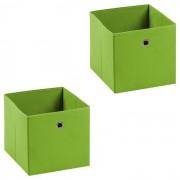 IDIMEX Lot de 2 tiroirs en tissu ELA, vert