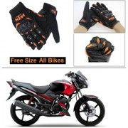 AutoStark Gloves KTM Bike Riding Gloves Orange and Black Riding Gloves Free Size For Yamaha Gladiator
